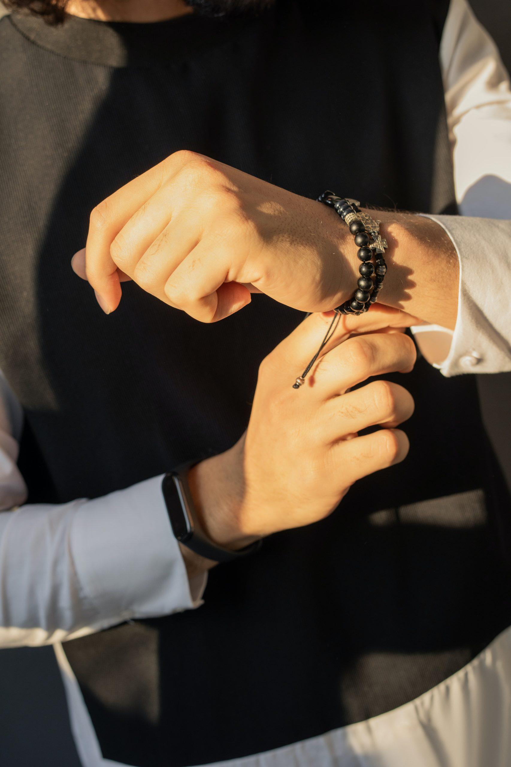 Male wearing bracelet