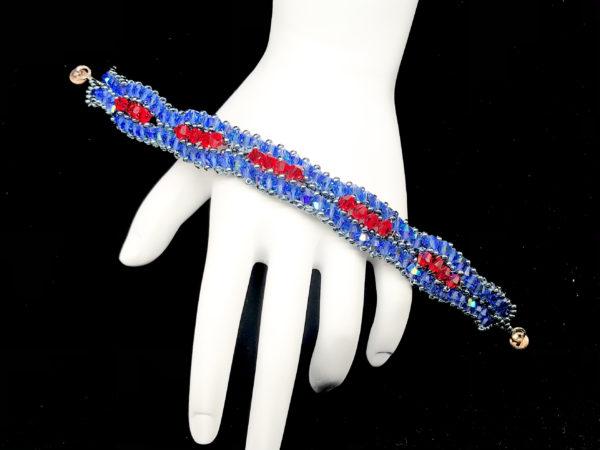 Bracelet Swarovski Bicone Sapphire AB and Light Siam