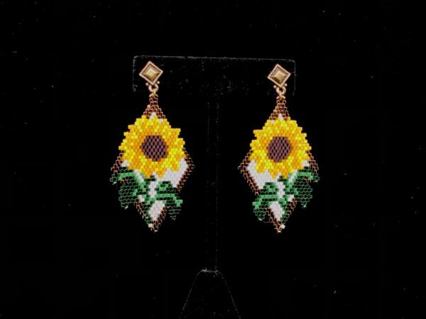 Brick Stitch Sunflower Earring