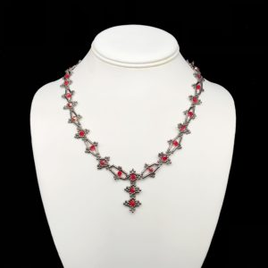 Necklace With Swarovski Light Siam and Bugle