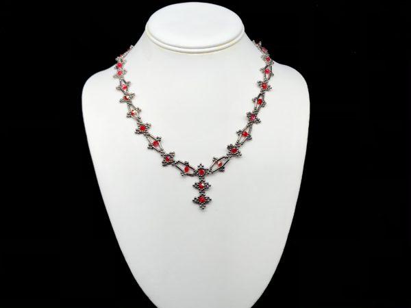 Necklace With Swarovski Light Siam and Bugle