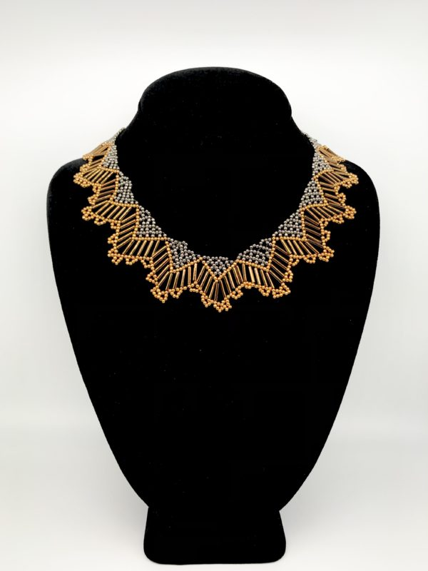 Necklace With Bugle Bronze Color